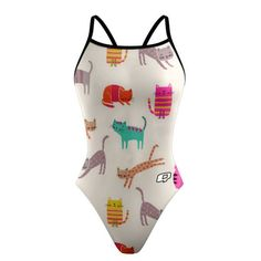 Cool Cat Lady Sunback Tank. Cat's are cool. You are cool. Be cool together with our Cool Cat Lady Suit. #qswimwear #swimsuit