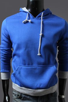 Blue And Gray Spliced Hoodie