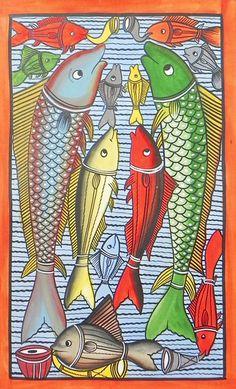 fish wedding ceremony - kalighat folk painting, bengal