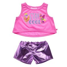 Keep it cool this summer by dressing your furry friend in this colorful metallic short set for stuffed animals. The metallic purple shorts are perfect for summer and the pink tank top features a fun graphic of frozen treats. Metallic Shorts, Purple Shorts, American Girl Bedrooms, Justice Girls Clothes, Build A Bear Outfits, Build A Bear Clothes, Barbie Chelsea Doll, Toy Cars For Kids, Baby Girl Toys