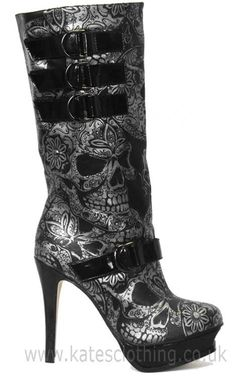 Iron Fist Sweet Skull O Mine Boots from Kates Clothing