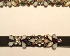 Olive Velvet Ribbon Bridal Sash with Ivory, Rosegold, Olive and Cranberry Crystal