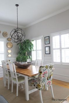 Dining room Light.  Love this light for a dining room, plus it won't break the bank.  This whole room is fresh and airy.
