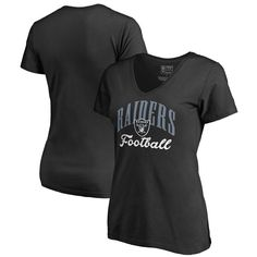 Oakland Raiders NFL Pro Line by Fanatics Branded Women's Victory Script Plus Size V-Neck T-Shirt - Black