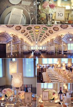 silver wedding decor, hydrangea arrangements, beaded lamps #canfieldcasino #rosearrangements #fleurtaciousdesigns - Elario Photography