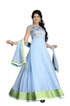 This Sky blue anarkali is in raw silk fabric appliqued with gold gota patti lace and embroidery all over the front… come in Just Rs 2250/- for more details Whatsapp on +91-9311187463 or Our Website : http://www.suit-sarees.com