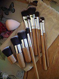 Rovtop 13 en 1, 11 Unidades Brochas y Pinceles de Maquillaje con Mango de Bambú /Juego de Cepillo de Maquillaje Profesional y Esponja para Maquillar, Incluido el Estuche: Amazon.es: Belleza