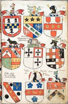 Illustated right is a page from a manuscript in the College of Arms, dating from the reign of Henry VIII and depicting characteristic heraldry of the period. This manuscript was probably compiled under the direction of Sir Thomas Wriothesley, Garter (died 1534); the page illustrated perhaps represents a record of Arms granted by Wriothesley. Coll Arm Ms Vincent 153 f. 39.