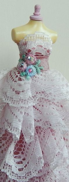 Pink Lace xxxxx 1/12th scale gown made by me Cher of Ikle Company xxx