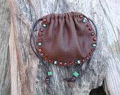 Leather Pouch Bag - Native American  - Spirit Bag - Medicine Bag - Sage Sack - Beaded Bag - Buckskin - Healing stones