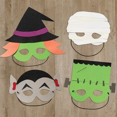 Our DIY Monster Mask Kit comes with pre-cut shapes and templates to make your own Monster Masks! Eerily easy!
