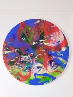 Peinture abstraite ronde colorée Diamètre 80 cm 2020 Tableware, Paint, Dinnerware, Tablewares, Place Settings