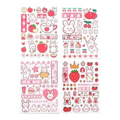 Stickers Kawaii, Preppy Stickers, Cartoon Stickers, Diy Stickers, Printable Stickers, Journal Stickers, Scrapbook Stickers, Korean Stickers, Cute Little Drawings