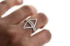 Mountains and rivers - silver stacking rings, triangle, geometric ring