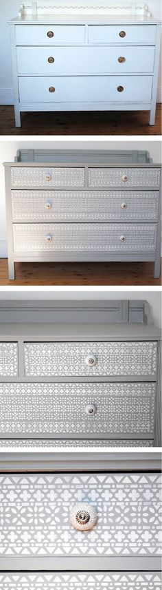 Before And After chest of drawers painted and stencilled.  nicolettetabram.co.uk  #stencils #paintedfurniture #nicolettetabramstencils