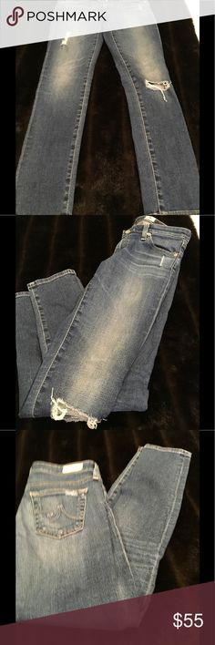 AG Jeans Legging Ankle Super Skinny Distressed. Excellent Condition. SZ 27 R Ag Adriano Goldschmied Jeans Skinny