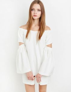 Ivory Bell Sleeve Off The Shoulder Dress: