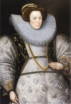 Very pregnant woman in portrait by William Segar (painted between 1585 and 1590)