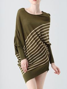 #AdoreWe #StyleWe Dresses - e.fire Olive Green Statement Asymmetric Stripes Sweater Dress - AdoreWe.net