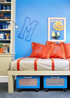Utilize the space underneath your child's bed with rolling bins to store toys while keeping them close at hand.