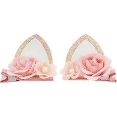 Monsoon 2x Glitter Flower Cat Ear Hair Clips (25 BRL) ❤ liked on Polyvore featuring accessories, hair accessories, pearl hair clip, hair clip accessories, pearl hair accessories, cat ear hair clips and barrette hair clip