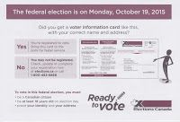 October 6 -- Elections Canada mailer outlines key information for October 19th vote