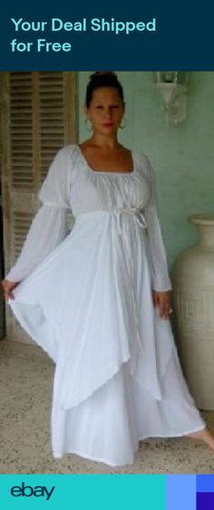 ca1be118c90 white dress peasant layered renaissance M L XL 1X 2X 3X 4X ONE SIZE PLUS  SIZE