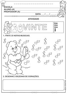Atividade Numeral 20 Ursinhos Carinhosos pintando quantidades e trabalhando dezena