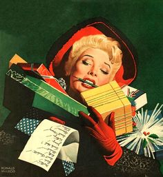 Pin-up, Illustrations, Advertisments, and Other Things that are Not Pulp Covers Ghost Of Christmas Past, Christmas Love, A Christmas Story, Christmas Shopping, Vintage Christmas Photos, Vintage Holiday, Christmas Pictures, Look Vintage, Vintage Art