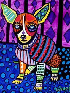 PRINT Chihuahua Dog Abstract Pet Folk Art of Painting | eBay