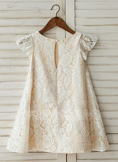 9f519d36dba A-Line Princess Knee-length Flower Girl Dress - Lace Short Sleeves Scoop  Neck With Lace