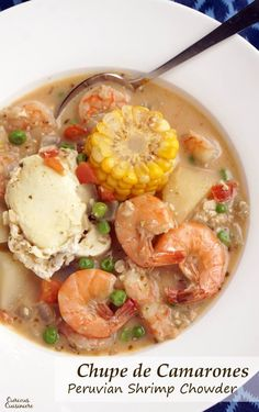 Chupe de Camarones is a unique Shrimp Chowder from Peru that combines a spicy broth with chunky vegetables, poached eggs, and lots of tasty shrimp. This is chowder like you have never seen it before.   www.CuriousCuisiniere.com