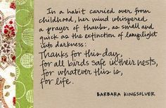 thanks by Barbara Kingsolver