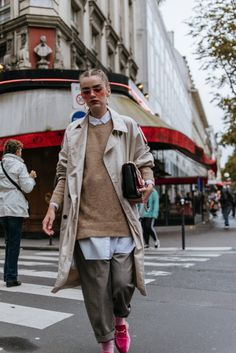 Mango beige trench coat, light duster coat, zara check print high waisted trousers, topshop paperbag peg trousers, camel beige sweater, oversize boyfriend white button down shirt, how to wear a white shirt in 100 ways, fall layers, how to layer in fall, andreea birsan pfw, pink furry mules, pink glasses, cavalli bag, couturezilla, cute fall outfit ideas for women 2017, pfw street style couturezilla andreea birsan, pfw 2017 andreea birsan street style outfit ootd, asian inspired outfit