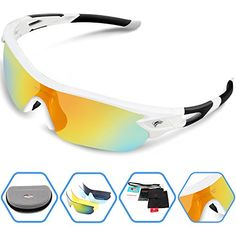 a002de59784 Torege Polarized Sports Sunglasses With 5 Interchangeable Lenes for Men  Women Cycling Running Driving Fishing Golf