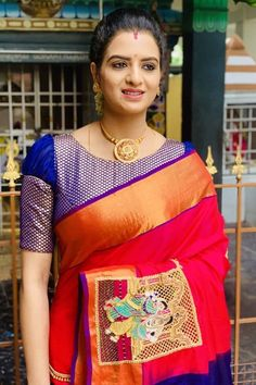 In a pink color saree, dark blue color high neck elbow length sleeve blouse design, necklace and jewelry Source by moviewhistle Blouses Wedding Saree Blouse Designs, Pattu Saree Blouse Designs, Blouse Designs Silk, Designer Blouse Patterns, Simple Blouse Designs, Stylish Blouse Design, Sumo, Blouse Models, Hand Designs