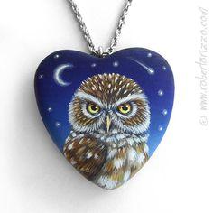 Unique Heart Shaped Pendant with a Little Owl! Purchase it on Etsy: www.RobertoRizzoArt.etsy,com #earrings #littleowl #jewelery #handpainted #owlart #owls #fineart
