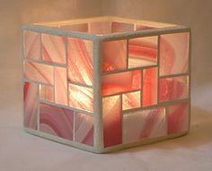 Pink and white 3 cubed mosaic candle holder by CreativeMosaics1, $30.00