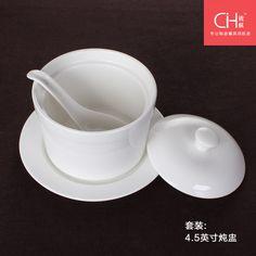 Porseleinen 4,5 slow cooker set keramische water- weerstand eieren magnetron deksel witte bone china soepkom nest cup