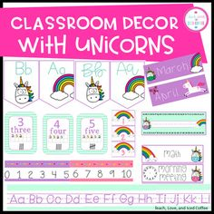 Classroom Decor Set Unicorns (EDITABLE)