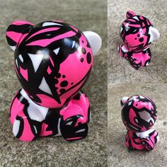 Mini Munny Bear! Coming in at a tiny 7cm high, he was quite possibly the most difficult thing I've ever had to draw on  #munny #pink #bear #art #abstract #posca #sambunny