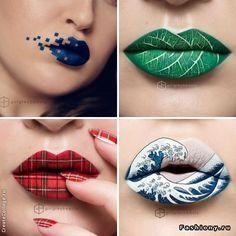 Арт-мейкап: визажист превращает свои губы в холст