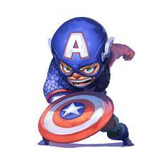 (Captain America Chibi) By: Unknown. Chibi Marvel, Marvel Dc Comics, Marvel Heroes, Marvel Avengers, Chibi Characters, Marvel Characters, Comic Books Art, Comic Art, Spiderman Venom