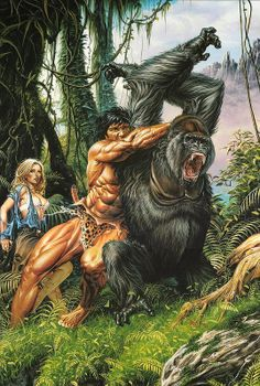 Tarzan is the orphaned son of a British lord who was raised by a pride of apes in the African jungle and later discovered by a group of explorers. Fantasy Artwork, Comics Vintage, Tarzan Of The Apes, Comic Kunst, Conan The Barbarian, Fantasy Kunst, Sword And Sorcery, Fantasy Illustration, Pulp Art