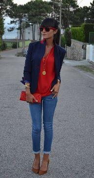 #red #navyblue #blazer