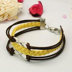 Fashion Tibetan Style Bracelets, with Alloy Infinity Pendants.