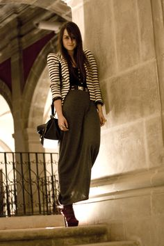 striped blazer with maxi skirt