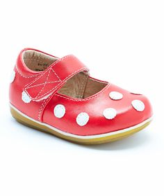 Look at this #zulilyfind! Red & White Polka Dot Leather Mary Jane by Puddle Jumper Shoes #zulilyfinds