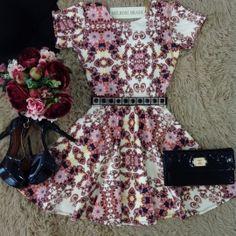Vestido Mariana  NEOPRENE  C/ BOJO/ MANGA LONGA  ( Estampa Flowers Luvre/ Fundo Preto) - Melrose Brasil