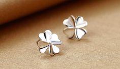Clover Heart Shape Petal Stud Earrings